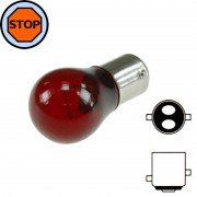 Ampoule 12V 23/8W BAY15D S25 rouge feu stop arriere position voiture moto scooter
