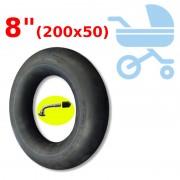 """Chambre à air 8"""" (200x50) VALVE SCHRADER COUDÉE 90°"""