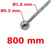 Câble de frein avant tête ronde Ø5.5 Lg 800mm 15/10
