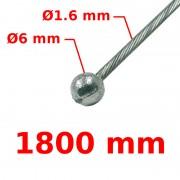 Câble de frein avant tête ronde Ø6 Lg 1800mm 16/10