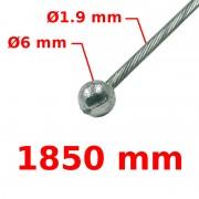 Câble de frein avant tête ronde Ø6 Lg 1850mm 19/10