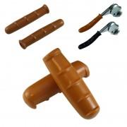 Kit paire de poignées et couvres leviers de frein vintage marron