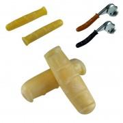 Kit paire de poignées et couvres leviers de frein vintage jaune