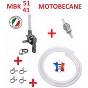 KIT ESSENCE MOBYLETTE MBK 51 MOTOBECANE : ROBINET M10 + FILTRE + DURITE + COLLIER