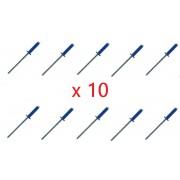 Kit de 10 rivets bleus plaque d'immatriculation