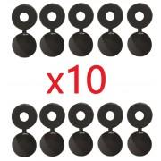 Kit de 10 cache rivets noirs plaque d'immatriculation