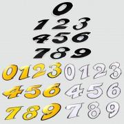 Autocollant sticker numéro chiffre 0 1 2 3 4 5 6 7 8 9 blanc noir jaune hauteur 9cm