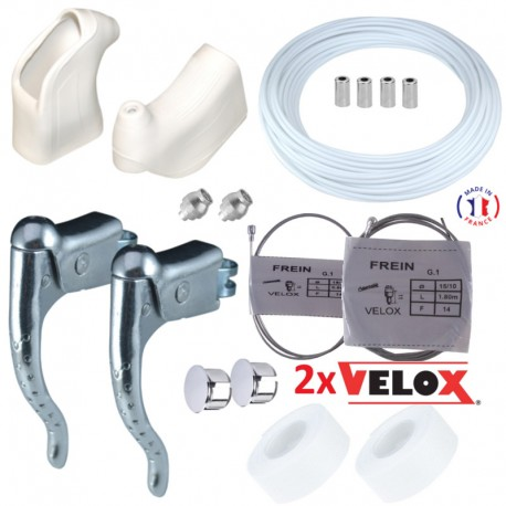 KIT LEVIER DE FREIN REPOSE MAIN COCOTTE GUIDOLINE GAINE CABLE VELO CYCLE BLANC