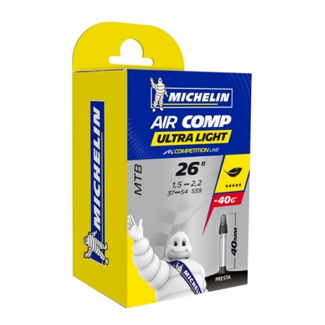 "CHAMBRE A AIR VELO MICHELIN 26 x 1,50-2,20"" (37/54-559) AIRCOMP ULTRALIGHT COMP VALVE PRESTA"