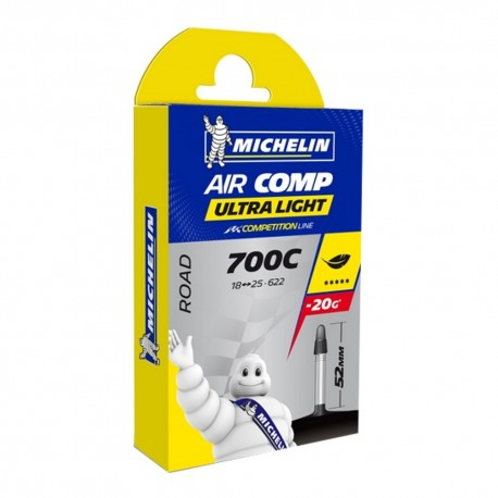 CHAMBRE A AIR MICHELIN 700C x 18-25 (18/25-622) PRESTA 50mm AIRCOMP ULTRALIGHT