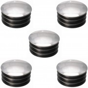 5x EMBOUT DE TUBE ROND RENTRANT PLASTIQUE CHROME ARGENT CHAISE MEUBLE DECORATIF