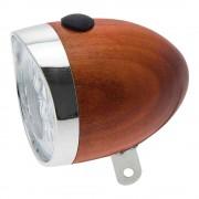 FEU AVANT 3 LED ROND VELO BOIS LAMPE AMPOULE AVEC PILES CYCLE VILLE VINTAGE