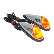 Paire de clignotant goutte d'eau chromé a ampoule pour moto scooter