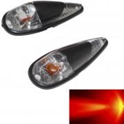 Paire de clignotant goutte d'eau noir a ampoule orange pour moto scooter