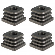 4x Embout de tube rentrant carré 20-30mm taraudé pour vis M8 pied réglable noir