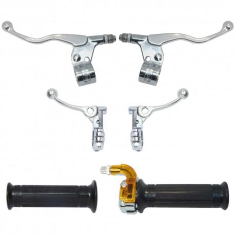 Poignée mini targa chromé kit complet avec leviers gauche droite frein gaz décompresseur 22mm 110mm cyclo mobylette moto